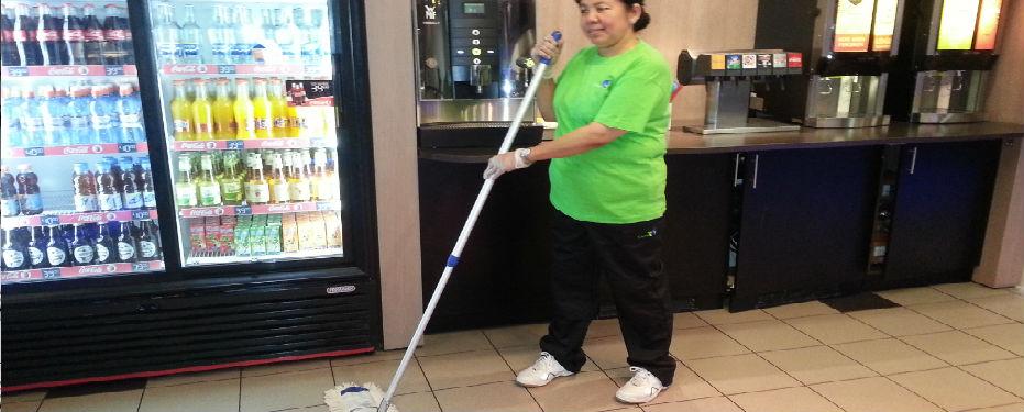 vaske gulv med maskin